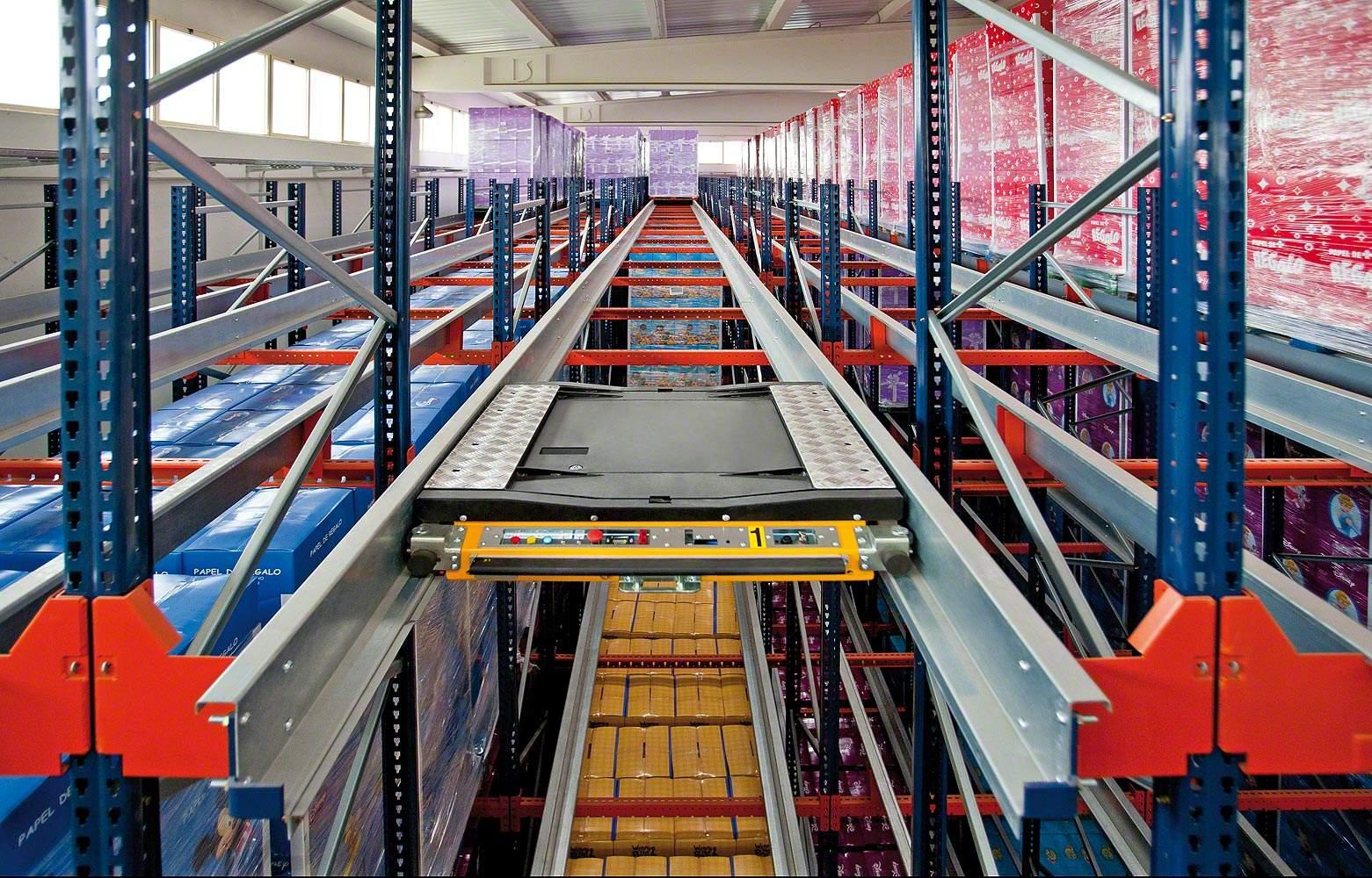 穿梭货架工作原理效果和字母车配合仓库作业